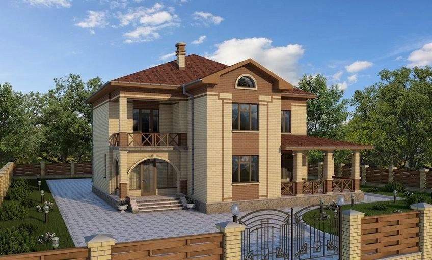 Проект двухэтажного дома с красивым крыльцом и верандой 209-B-Z