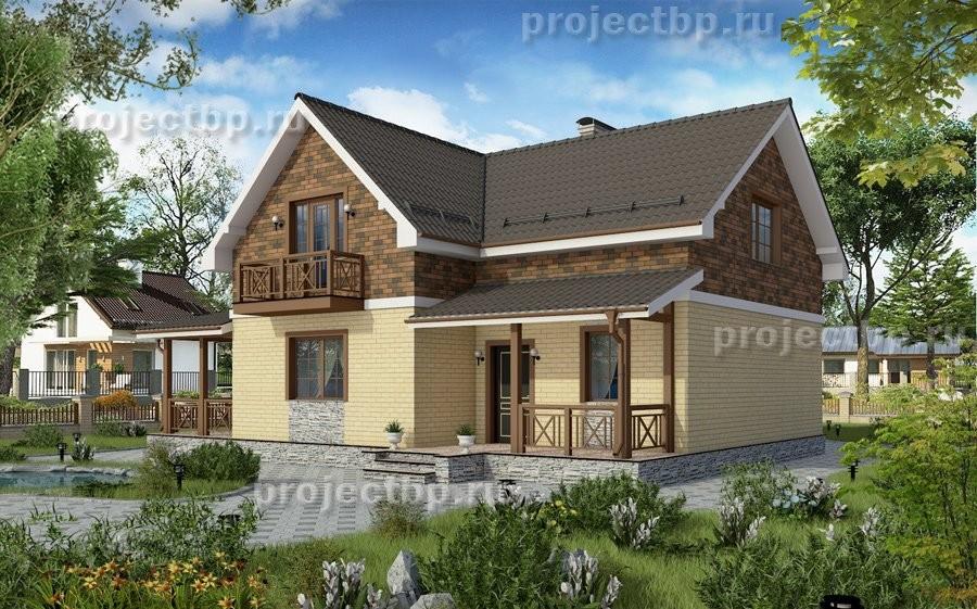 Проект небольшого дома из блоков с мансардой 131-D-Z