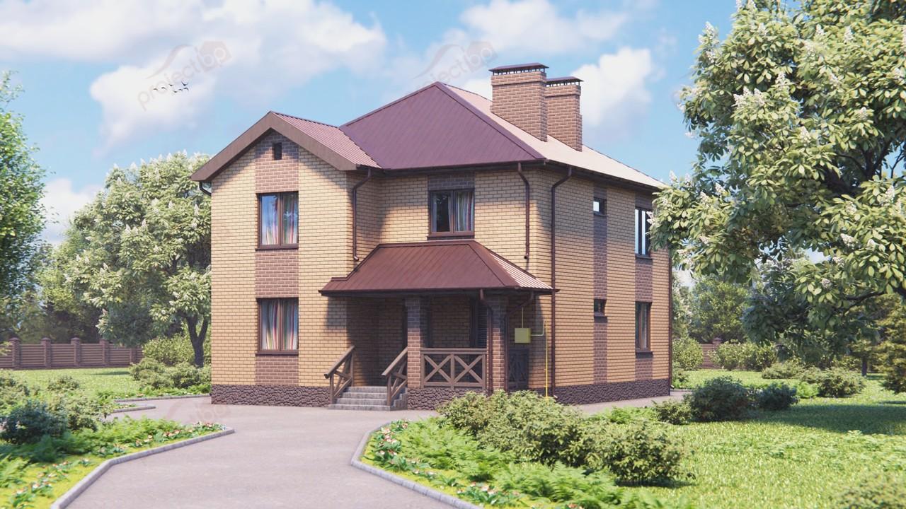 Проект двухэтажного дома под штукатурку с четырехскатной крышей 144-A-2