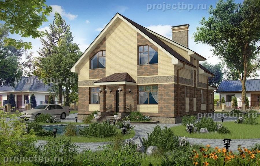 Проект одноэтажного дома с мансардой и верандой 152-B