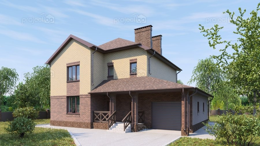 Проект двухэтажного дома со столовой в эркере и гаражом 196-A
