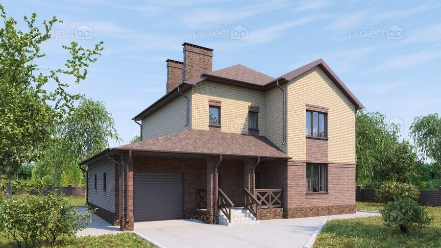 Проект двухэтажного дома с эркером на первом этаже и гаражом 196-A-Z