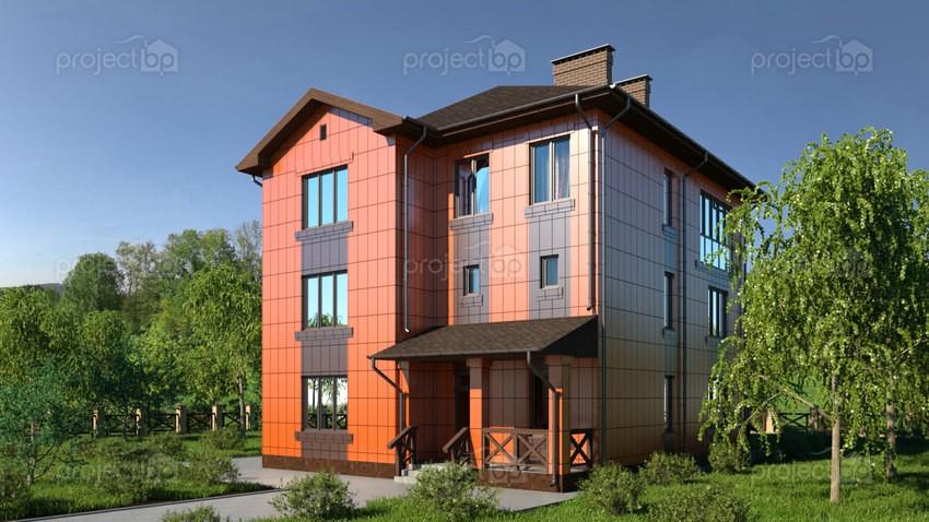 Проект трехэтажного дома из блоков с навесными фасадами 299-A-Z-2