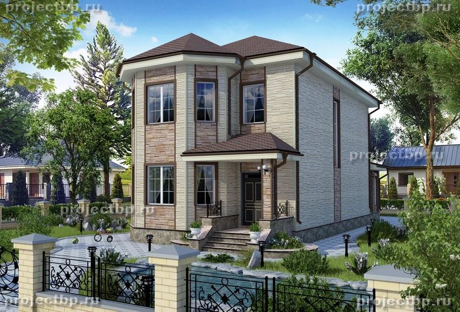 Проект двухэтажного дома с эркером для узкого участка 146-B
