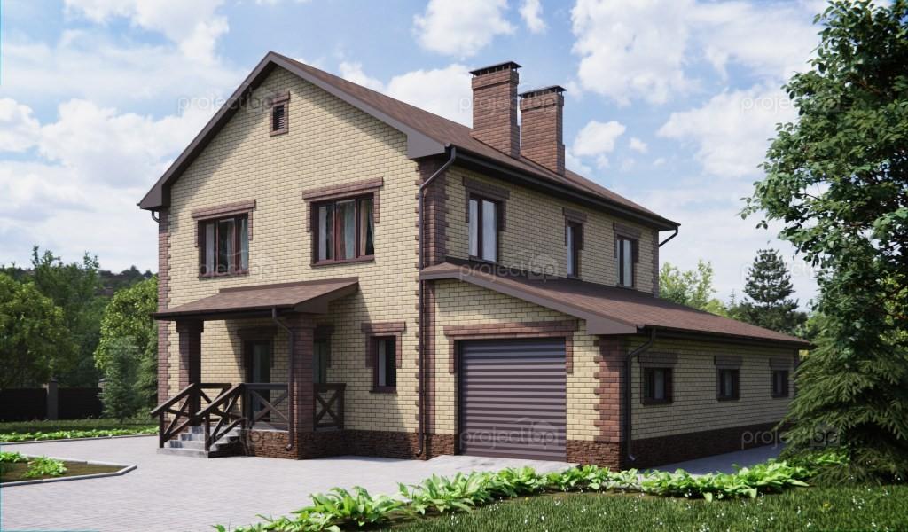 Проект двухэтажного дома с верандой и гаражом 201-A
