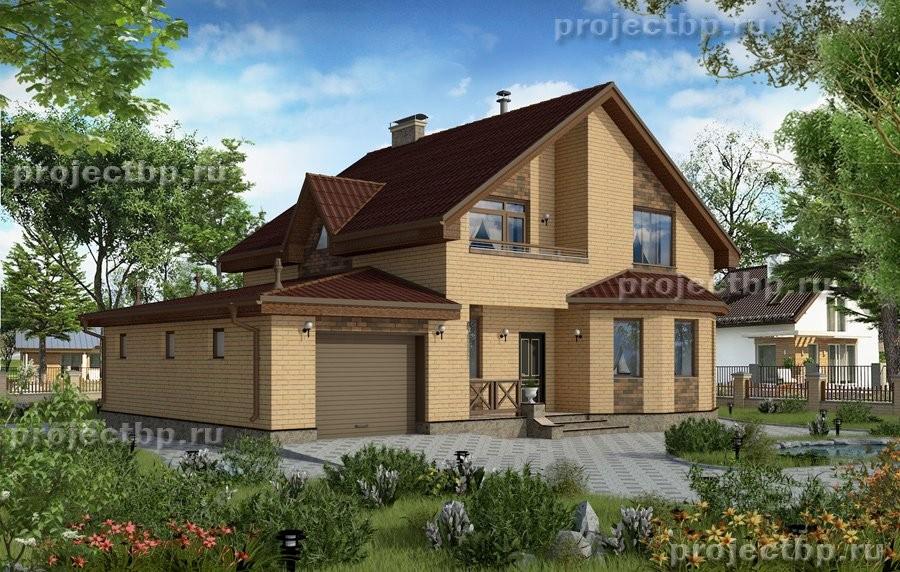 Проект двухэтажного дома с эркером, балконом, гаражом и террасой 167-B