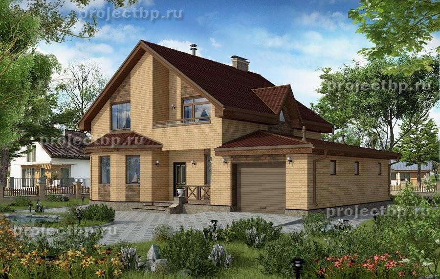 Проект двухэтажного дома из блоков и кирпича с эркером и гаражом 167-B-Z