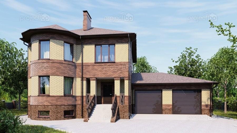 Проект двухэтажного дома с высоким цоколем и гаражом 320-C-Z