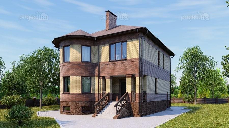 Проект двухэтажного дома с круглым эркером, подвалом и вальмовой крышей 263-C-Z