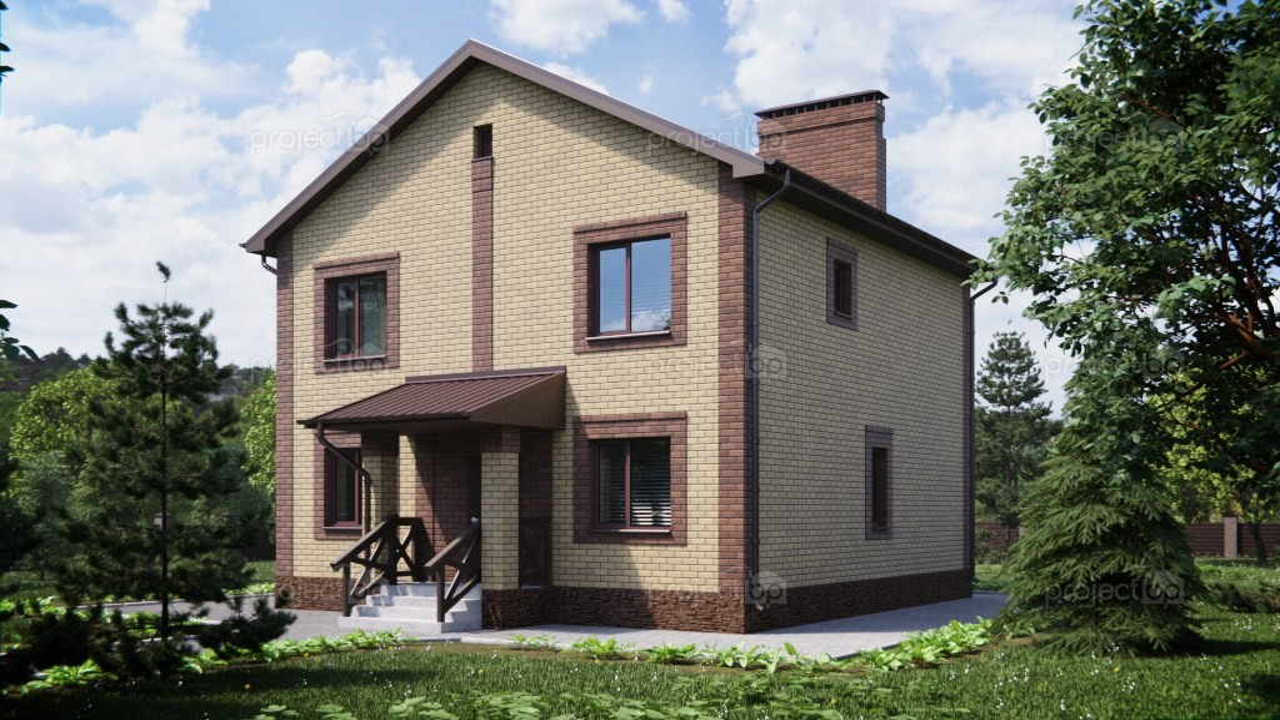 Проект маленького двухэтажного дома с двухскатной крышей 120-A