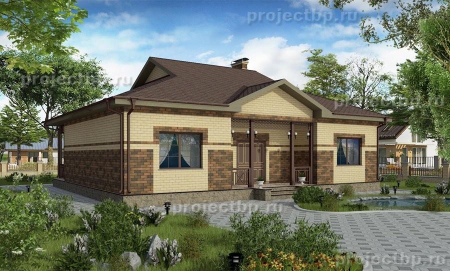 Проект одноэтажного дома полувальмовой кровлей 108-B-1