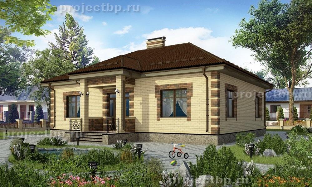 Проект одноэтажного дома из кирпича 119-B