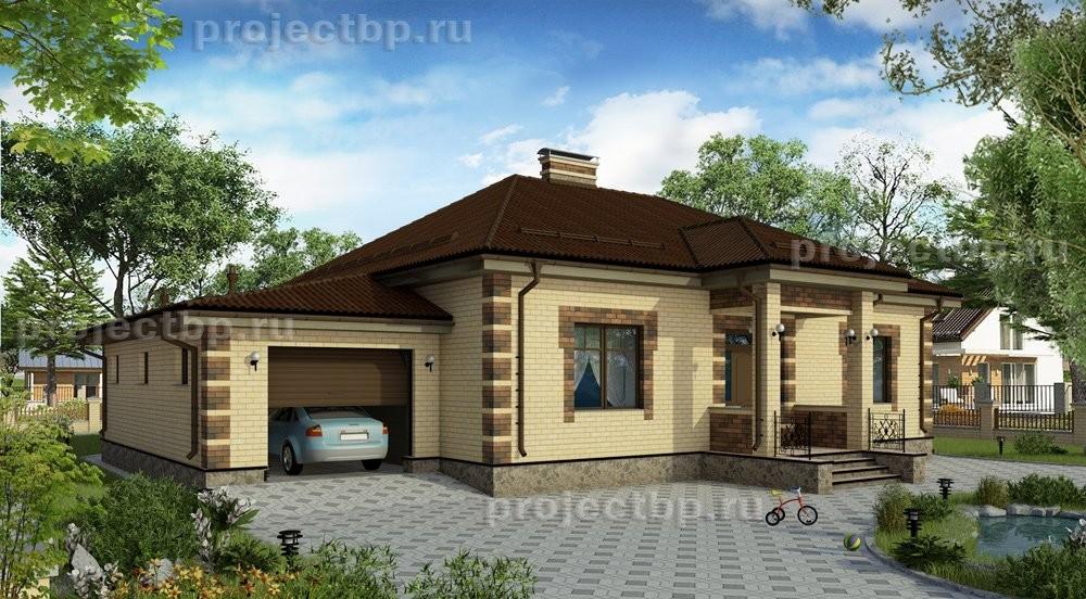 Проект одноэтажного дома с гаражом из кирпича 155-B