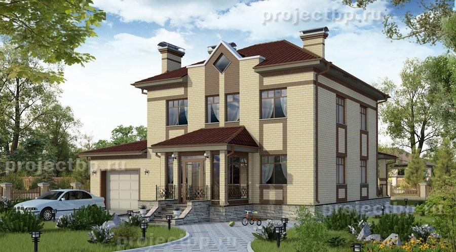 Проект двухэтажного дома с гаражом на два авто и террасой B-220