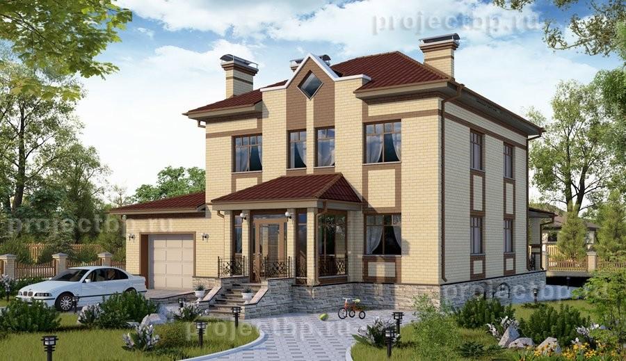 Проект двухэтажного дома с гаражом на два авто, подвалом и террасой 292-B