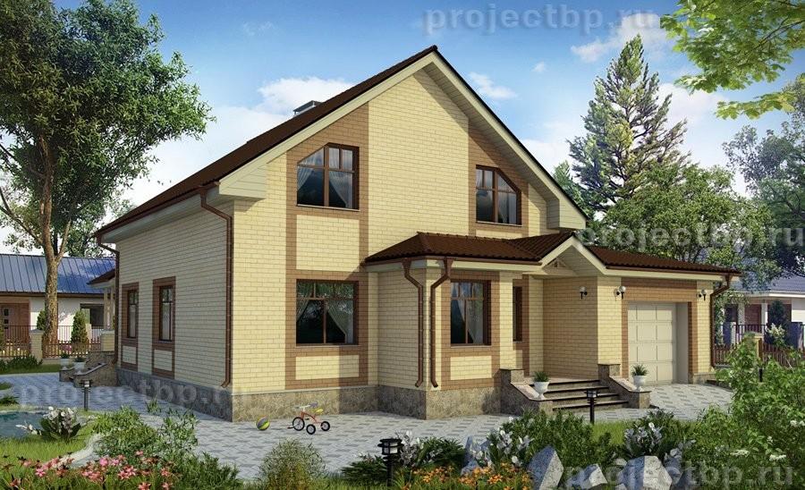 Проект дома c мансардой гаражом и террасой B-180