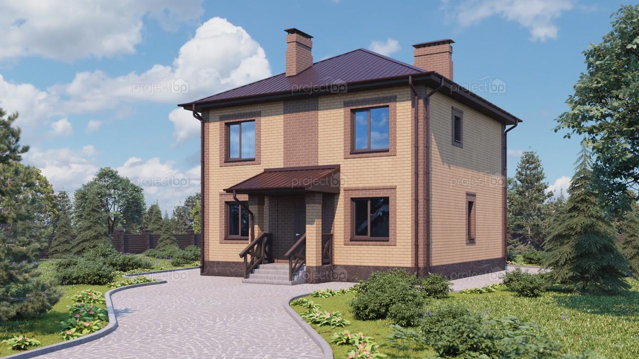Проект маленького двухэтажного дома с шатровой крышей 120-A-2