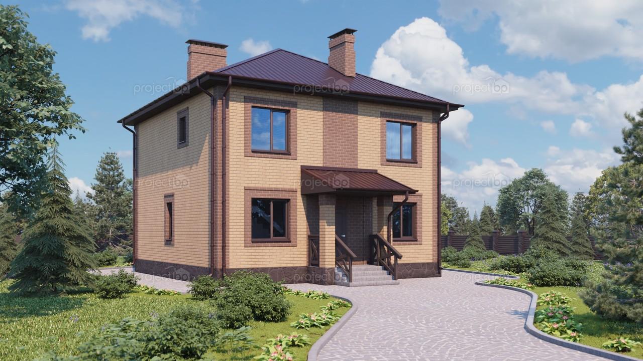 Проект компактного двухэтажного дома с шатровой крышей 120-A-2-Z