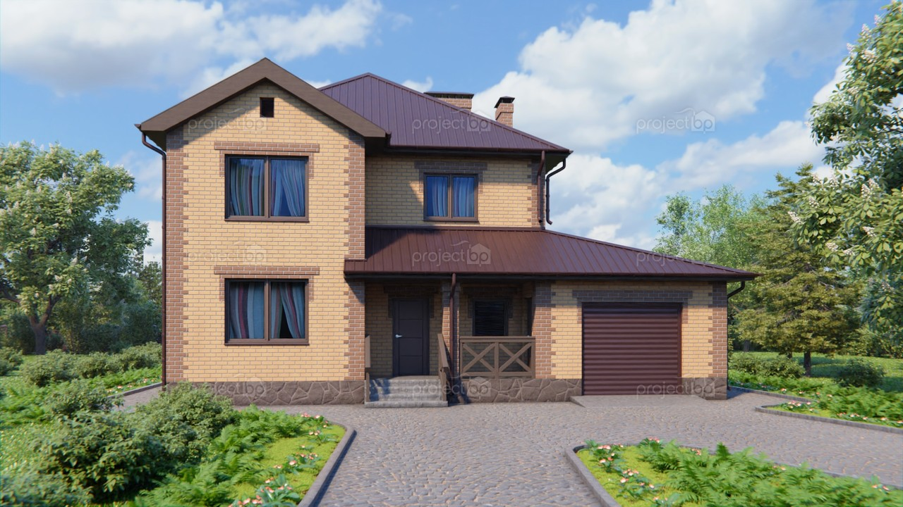 Проект двухэтажного дома с террасой и гаражом 176-A-2