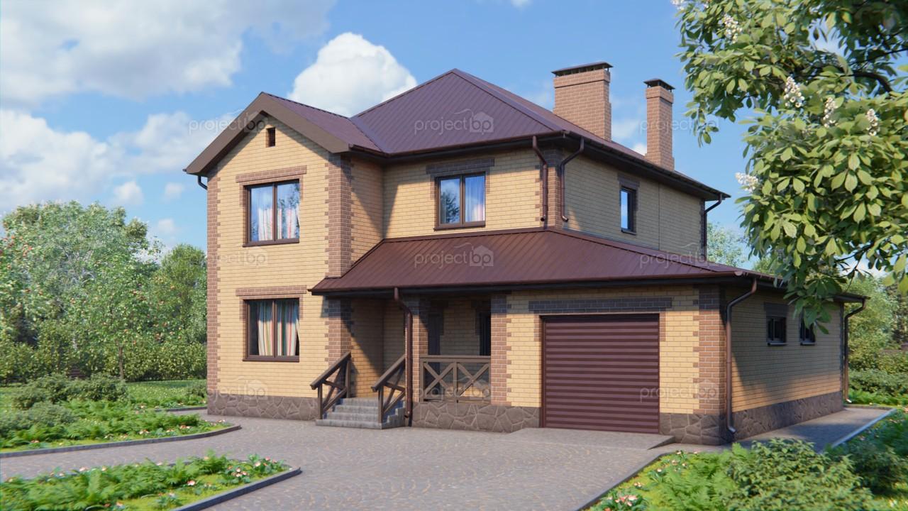 Проект двухэтажного дома с большим гаражом A-184