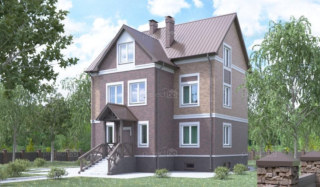 Проект трехэтажного дома с острой крышей 298-A