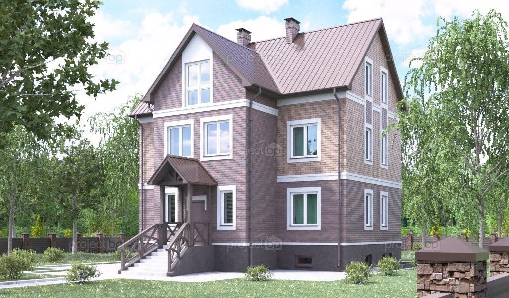Проект двухэтажного дома с мансардой и подвалом под острой крышей A-298-2