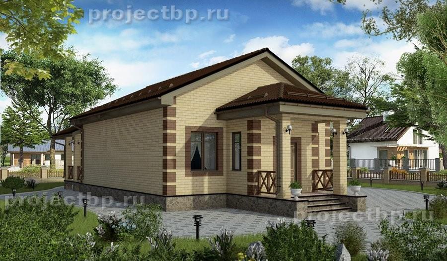 Проект одноэтажного дома с двумя спальнями 75-B
