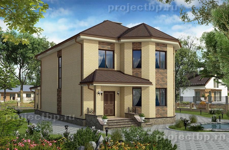Проект двухэтажного дома с эркером и террасой 171-B-1