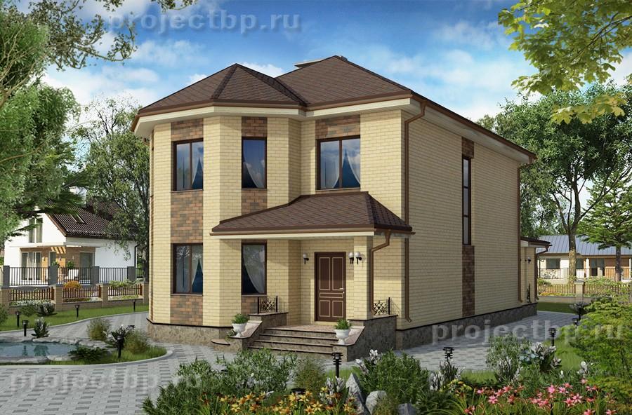 Проект двухэтажного дома с эркером и террасой 171-B-1-Z