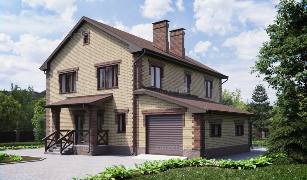Проект просторного двухэтажного дома с верандой и гаражом 204-A