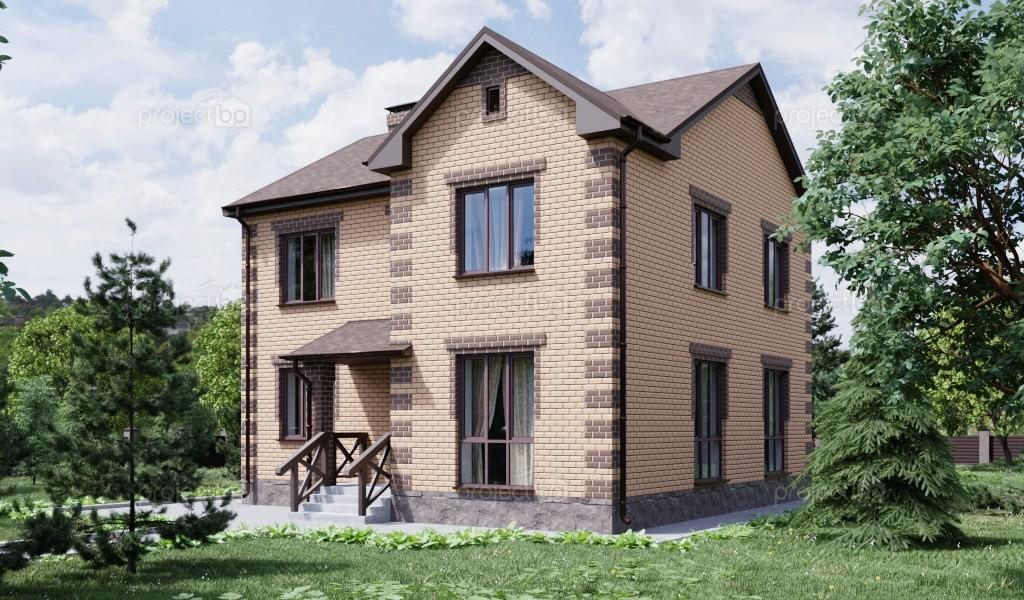 Проект двухэтажного дома в классическом стиле с панорамными окнами 139-A