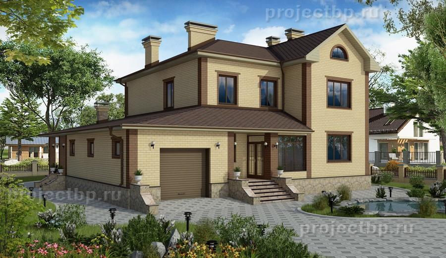 Проект двухэтажного дома с подвалом, гаражом и террасой B-321