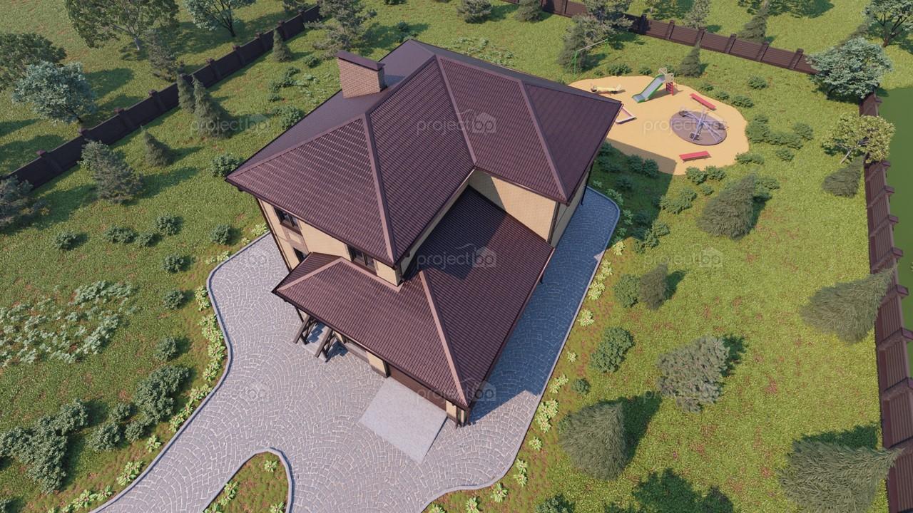 Проект двухэтажного дома со встроенным гаражом 169-C