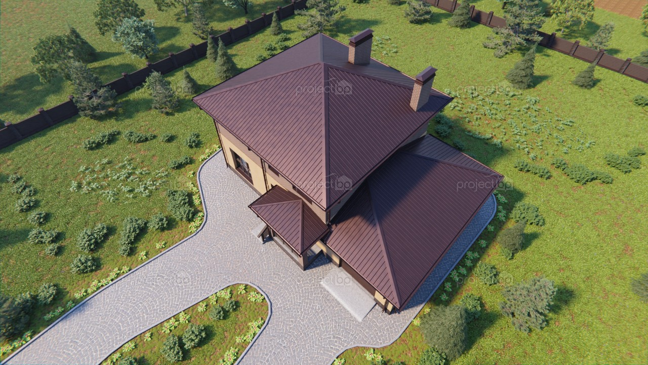 Проект красивого двухэтажного дома с гаражом  172-C-Z