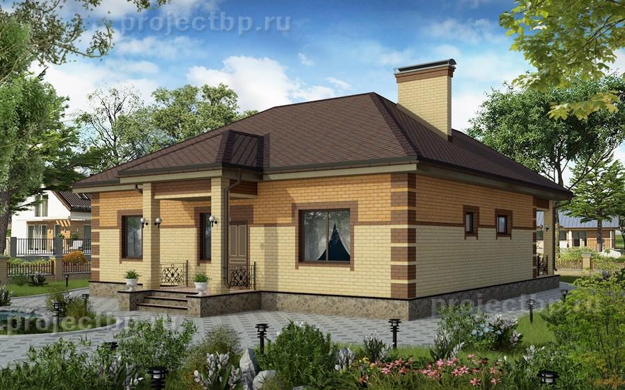 Проект одноэтажного дома с четырёхскатной крышей 123-B-1-Z