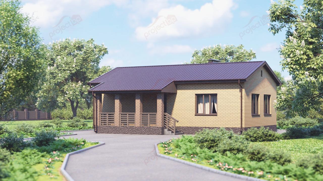 Проект маленького одноэтажного дома с большим крыльцом A-69