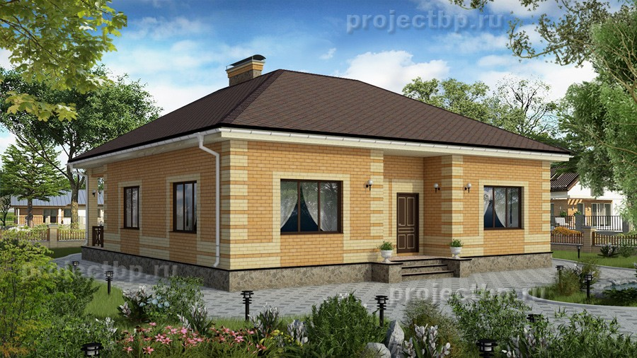 Проект одноэтажного дома из светлого кирпича 115-B