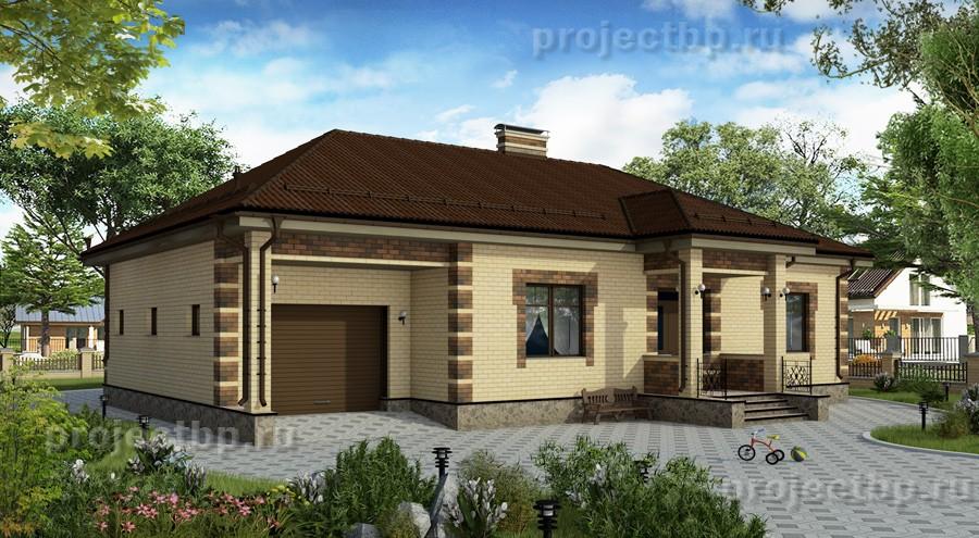 Проект одноэтажного дома с гаражом под общей крышей 155-B-1