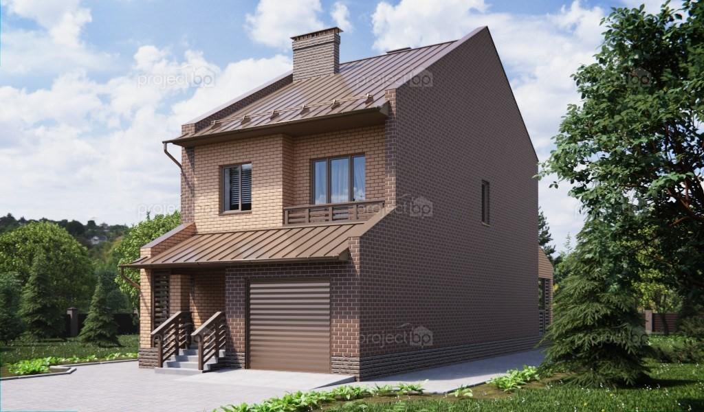 Проект двухэтажного дома для узкого участка с встроенным гаражом 151-A