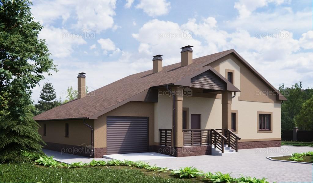 Проект просторного одноэтажного дома с гаражом на две машины 203-A
