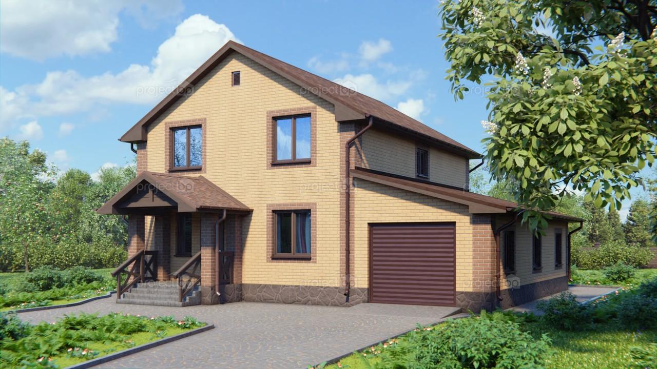 Проект двухэтажного дома с гаражом и открытой террасой A-167-2