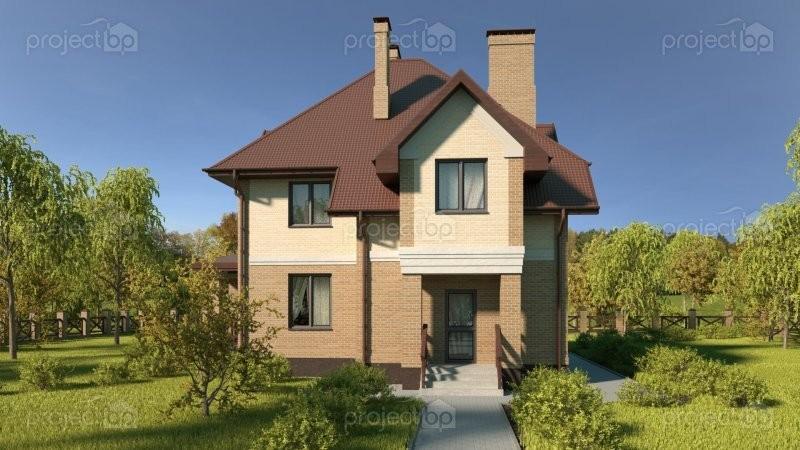 Проект двухэтажного дома со сложной крышей C-142