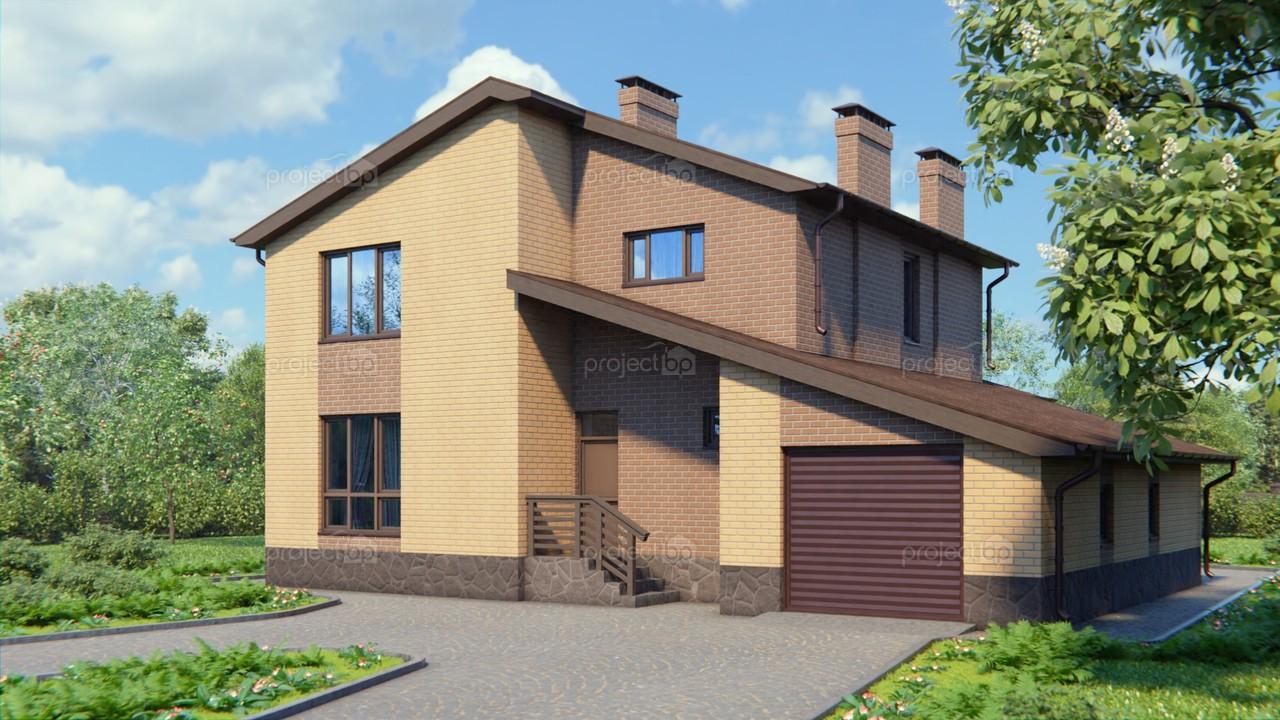 Проект двухэтажного дома в современном стиле с гаражом A-190