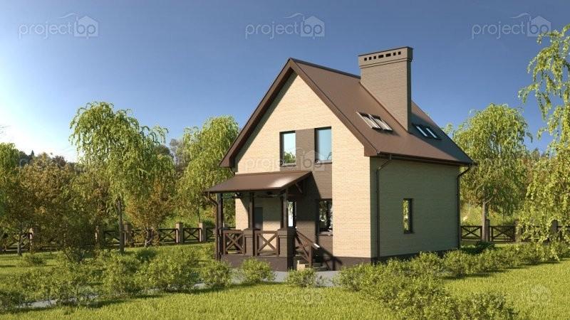 Проект компактного дома с мансардой и двухскатной крышей C-85
