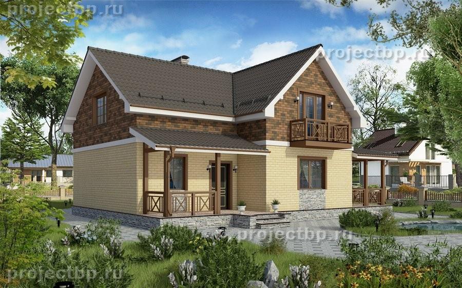 Проект небольшого дома из блоков с мансардой D-131