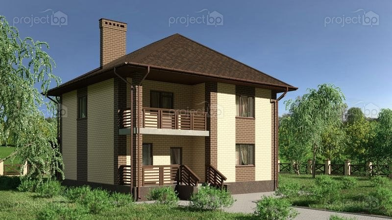 Проект двухэтажного дома с вальмовой крышей и балконом C-148