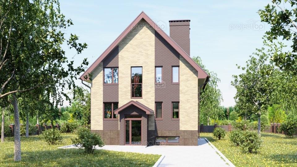Проект маленького дома с подвалом и двухскатной крышей A-211