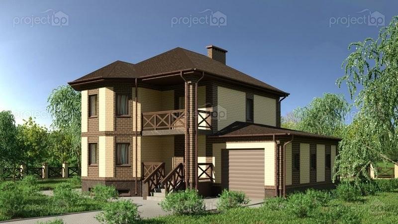 Проект двухэтажного дома с цокольным этажом и эркером 232-C