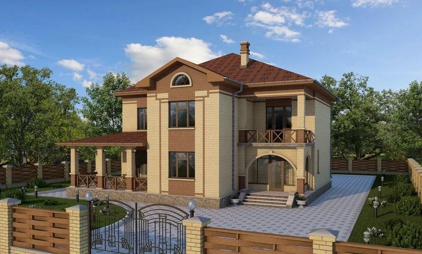Проект двухэтажного дома с верандой и балконом в солигаличах.