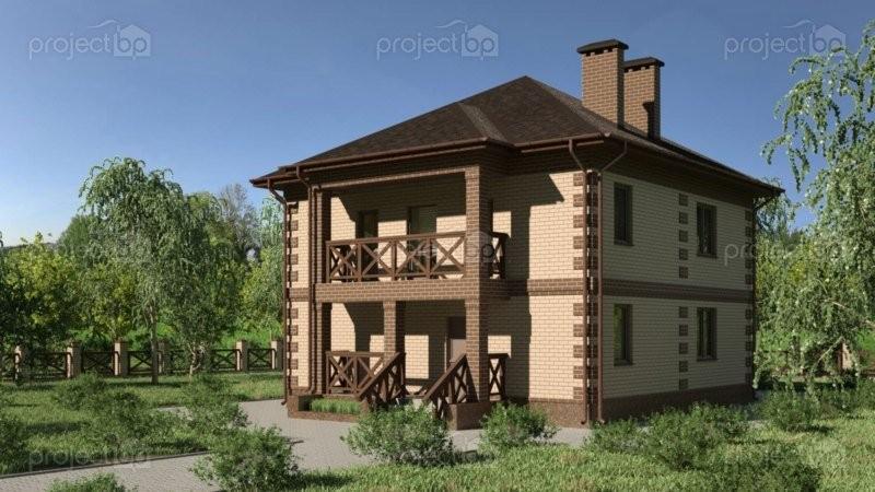 Проект двухэтажного дома c лоджией и остекленной верандой C-127